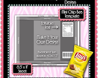 "Mini Chip Bag Template Instant Download PSD and PNG Formats (Temp719) 8.5x11"" Digital Collage Sheet Template"