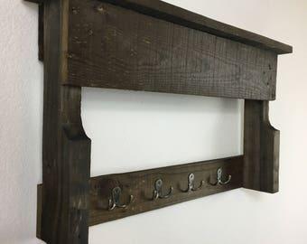 "Rustic Wood Coat Rack 26"" x 14 3/4"" x 4 5/8"""