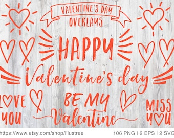 106 Valentine's day digital clip art for cards, red and white photo overlays, scrapbooking, commercial use, PNG, EPS, SVG, instant download