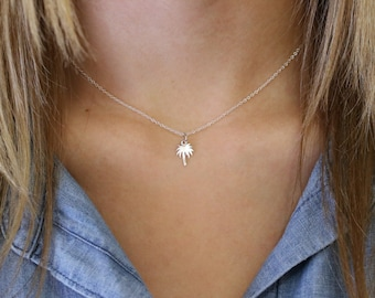 Palm Tree Necklace - Sterling Silver Palm Tree Necklace - Tiny Palm Tree Pendant - Dainty Charm Necklace - Tropical Jewelry - Beach Necklace