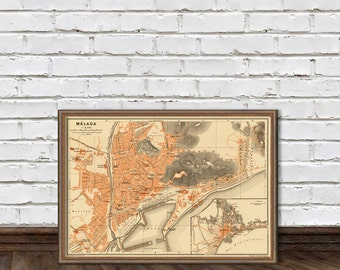 Old map of Malaga - Fine print - Vintage city map print