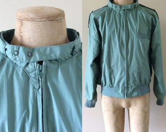 1980's Green Members Only Inspired Moto Jacket Size 42 44 a Large by Maeberry Vintage