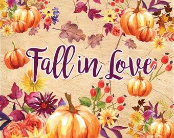 Fall Clip Art / Watercolor Pumpkin / Autumn flowers. Fall flowers, wedding clip art, digital clipart, hand painted bouquets