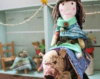 Handmade, one of a doll and bear, ragdoll, plushie, stuffed animal, eco friendly, soft sculpture, plush, dress up doll, pretend play