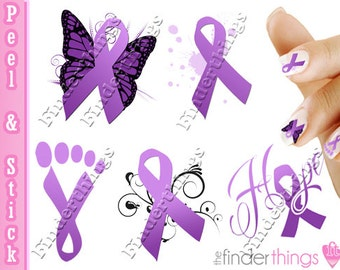 Relay For Life Purple Ribbon Cancer Awareness Hope Nail Art Decals Stickers  RIB905