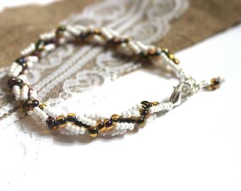 White bracelet Bead white bracelet Dainty bracelet Bracelet from beads Bracelet white Seed bead bracelet Beaded bangle Sister bead gift
