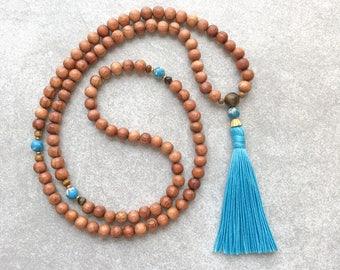 Mala Beads with Blue Turquoise Magnesite - Meditation Necklace - 108 Prayer Beads - Meditation Gifts - Item # 977