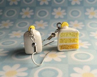 Mini lemon ombré cake earrings - bakery charms
