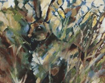 Hare Cross Stitch KIT, Counted Cross Stitch, Diana Muller, Needle Craft, Cross Stitch Pattern, Xstitch Kit, Modern Art Stitching Set