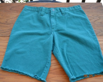 "70's Green teal Shorts,cut off's,30"" inch waist, long 18"" easy to make into short shorts,Urban,Vintage Normacor,Beach party wear"