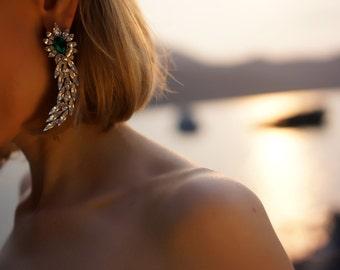 ULTIMATE SALE Roxanne - Emerald Swarovski Crystals Wedding Earrings, Statement Earrings - Ready to Ship