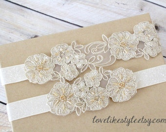 Light Gold   Beaded Lace Wedding Garter Set, Ivory Lace Garter Set, Toss Garter , Keepsake Garter / GT-26