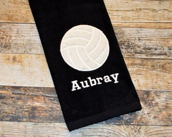 Volleyball Sports Towel with Hook - Personalized with Player's Name - Available in Red, Royal Blue, Black or White