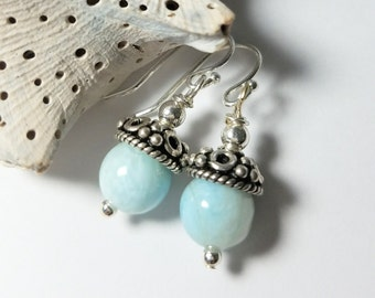Dominican Republic Soft Blue Larimar SemiPrecious Gemstones,Adorned w/.925 Sterling Silver Bead Caps&Ear Wires  #344