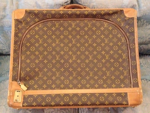 FREE SHIPPING-Rare-Vintage-Authentic-Louis Vuitton-By The French Co.-Monogramed-Leather-Tan Leather Trim-Tote-Luggage-Trunk-Garment Bag