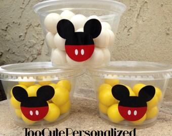 25 Plastic Mickey Snack Cups-4 oz.