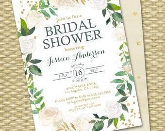 Bridal Shower Invitations, Greenery Bridal Shower Invite, Botanical Bridal Shower Invite, Gold Glitter, Green, White Roses, Floral