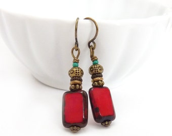 Red Picasso Glass Earrings - Recangle Beads - Simple Boho Earrings - Holiday Earrings - Free Shipping