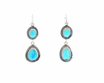 40% Off Earring Sale : ) Morenci Turquoise Earrings 2 Stones Sterling Southwest NewWorldGems