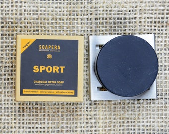 Activated Charcoal Detox Sport Soap-Head to Toe  After Sport / Training Soap- Soap Era all natural handmade vegan soap