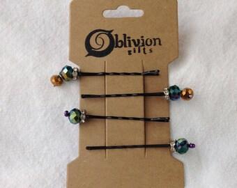 Green Iridescent Glass Bead Hair Pins