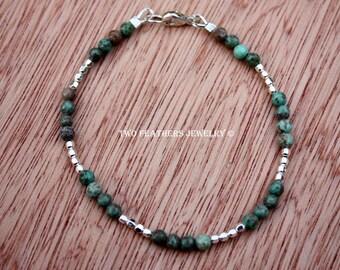 Boulder Creek Turquoise Bracelet - Sterling Silver Bracelet - Gemstone Bracelet - December Birthstone - 11th Anniversary Gift - Two Feathers