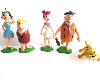 Set of 5 vintage pvc figurine's Marx Disneykins The Flintstones, Baby Puss, Fred and Wilma Flintstone, Barney and Betty Rubble . #6ABG5CK5