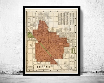 Old Map of Fresno California 1920