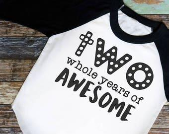 Kids Birthday Shirt - 2nd Birthday Shirt - Two Whole Years of Awesome - Toddler Birthday Shirt - Boys 2nd Birthday - Girls 2nd Birthday