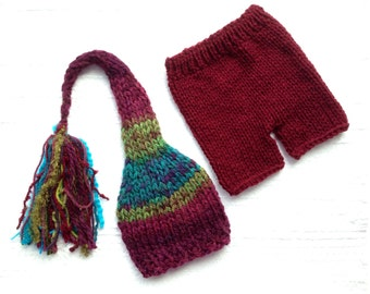 Newborn - 3 month Baby Unisex Knit Outfit BaBY PHoTo PRoP Tassel SToCKiNG CaP PaNT SET Burgundy Teal Lime Stripe Beanie CoMiNG HoME Gift