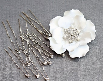 Wedding U Hair Pins Flower Hair Clip Set- Bridal Hairpins- Rhinestone Hair Picks- Bridal Hair Accessory