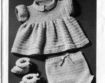 Baby, dress, pants, soaker, booties  vintage crochet pattern -Immediate download