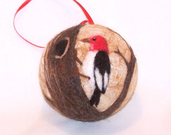 Christmas Ornament - Needle Felted - Bird Ornament - Woodpecker - Needlefelt Ornament - Felt Christmas - Christmas Gift - Gift for Him