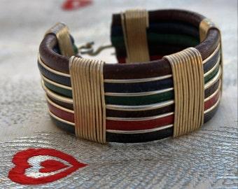 Wire/ Multi Color Leather/ Wide Bracelet