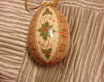 Holly and Holiday Pysanka Ornament by The Pysanky Nest