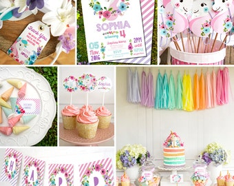 Unicorn Birthday Party Decorations - Unicorn Party Decor - Instantly Download and Edit at home with Adobe Reader