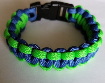 Adult Seattle Sounders / Seahawks Paracord Bracelet - 8 inch length