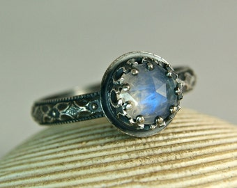 Faceted Blue Moonstone Oxidized Sterling Silver Ring, Rainbow Moonstone Jewelry, Renaissance Ring