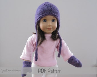 American Girl Knitting Patterns - Sydney PDF - Hat pattern for American Girl Dolls - PLUS Doll Mitten Pattern