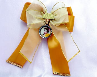 Princess Belle Bottle Cap Bow with Tails