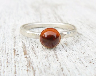Natural Amber Ring - Sterling Silver Gemstone Ring - Stacking Ring - Amber Gemstone Ring - Jewelry for women