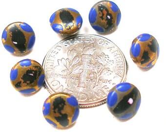 """années 1920 minuscules boutons, 7 Mini métal Art déco avec de la peinture bleu et noir, poupée de taille. 1/4""""."""
