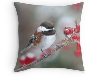 Bird Pillow, Chickadee Cushion, Bird Decor, Chickadee Pillow, Bird Throw Pillow, Winter Bird Decor, Bird in Snow,Wildlife Pillow,Small Birds