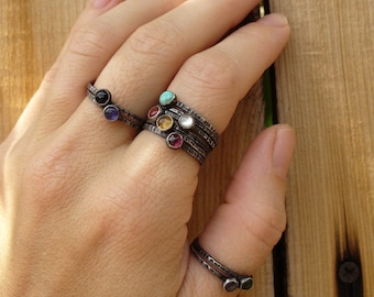 Pick any 4 - Mothers Rings - Gemstone Stackers - Tiny Stacking Rings -  Your choice of birthstones - or any stones