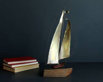 Vintage Copper Sailboat Sculpture on Wood Base Signed Kurt Young Nautical Themed Metal Sail Boat  Art