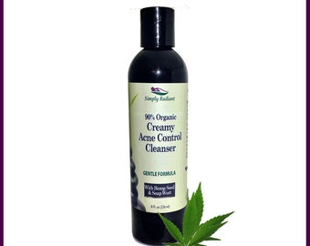 Organic Creamy Acne Control Cleanser - Facial Cleanser for Acne Gentle Formula - Facial Cleanser - Acne Cleanser Natural Skincare