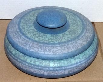 Vtg Blue Madeline Originals Pottery Bowl w/ Lid Handcrafted Studio Art Pottery Bowl California Art Pottery Serving Bowl Artist Signed