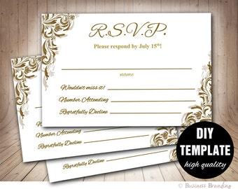 Gold Wedding RSVP Template, Elegant Wedding Response Card,Printable RSVP Card,RSVP Wedding,Gold Response Card,Lace Gold Rsvp,Elegant Wedding