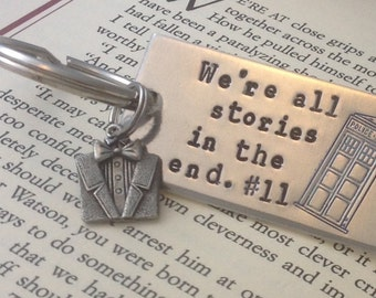 Dr Who inspired hand stamped keychain