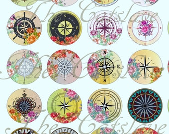 "Compass Magnets, Compass Pins, Wind Rose Compasses, 1"" Cabochons, Flat Backs, Hollow Backs, Rose Compasses, 12 ct"